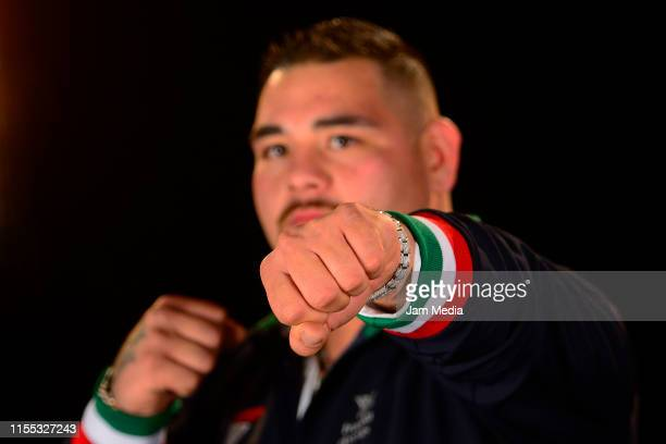 Heavyweight Champion Andy Ruiz Jr poses for a portrait after a press conference on June 11 2019 in Mexico City Mexico