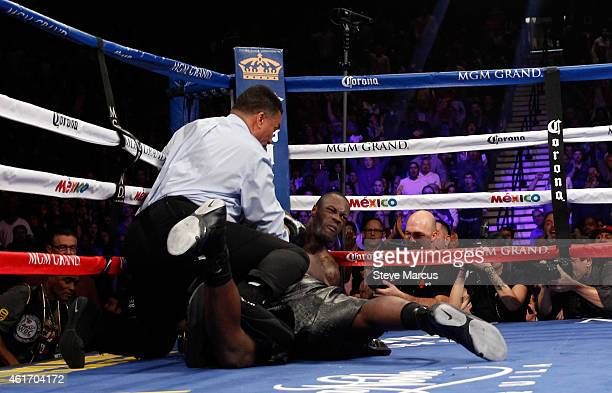 WBC heavyweight champion Bermane Stiverne and Deontay Wilder fall during their title fight at the MGM Grand Garden Arena on January 17 2015 in Las...