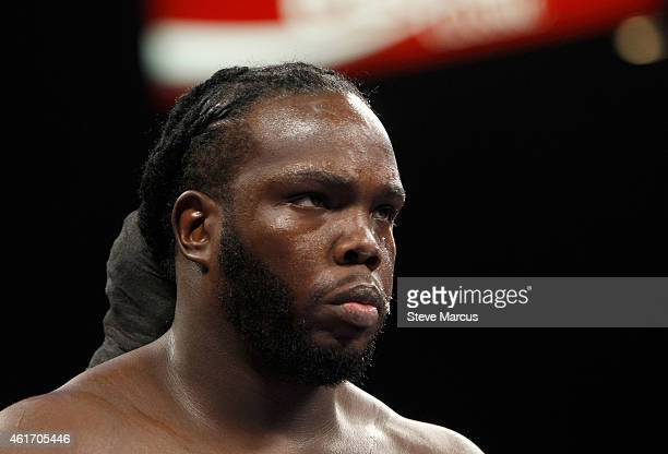 WBC heavyweight champion Bermane Stiverne is shown in the ring before his title defense against Deontay Wilder at the MGM Grand Garden Arena on...