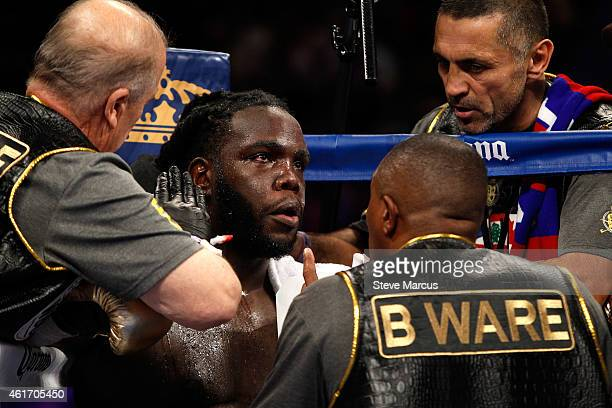 WBC heavyweight champion Bermane Stiverne is treated in his corner between rounds during his title fight against Deontay Wilder at the MGM Grand...