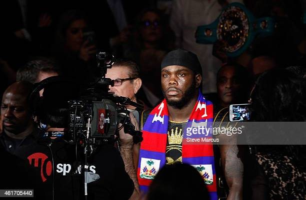 WBC heavyweight champion Bermane Stiverne makes his ring entrance for a title defense against Deontay Wilder at the MGM Grand Garden Arena on January...