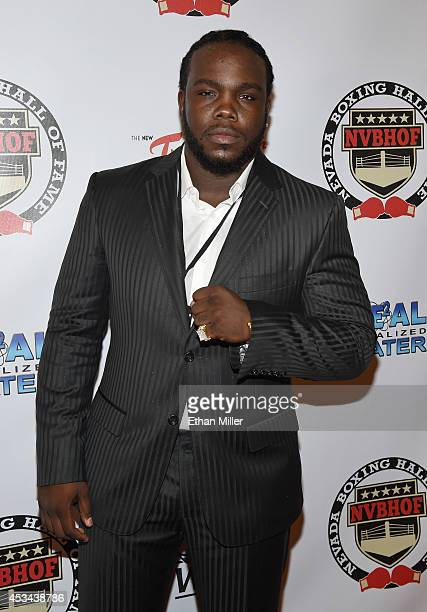 WBC heavyweight champion Bermane Stiverne recipient of a special achievement award arrives at the second annual Nevada Boxing Hall of Fame induction...