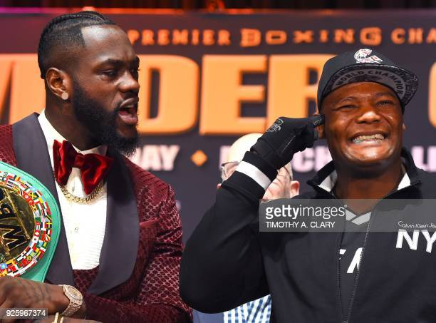 WBC heavyweight champion Deontay Wilder faces off with undefeated contender Luis King Kong Ortiz during a final press conference in New York March 1...