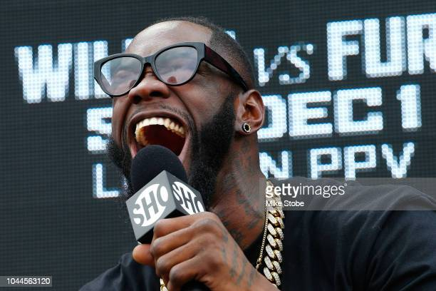 Heavyweight champion Deontay Wilder speaks to the media during the New York Press Conference at Intrepid SeaAirSpace Museum on October 2 2018 in New...
