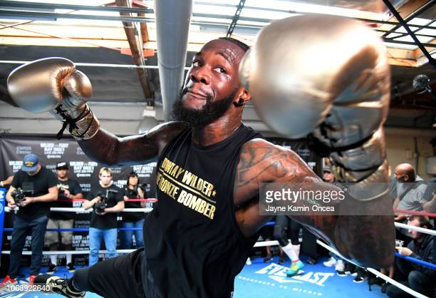 Heavyweight Champion Deontay Wilder works out for the media at Churchill Boxing Club on November 05 2018 in Santa Monica California