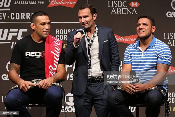 Heavyweight Champion Fabricio Werdum, Senior Vice President and General Manager of Brazil Giovani Decker and Lightweight Champion Rafael dos Anjos of...
