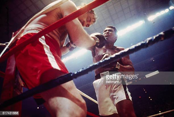 Heavyweight champion Muhammad Ali hits Chuck Wepner against the ropes in the 9th round of their title bout here.