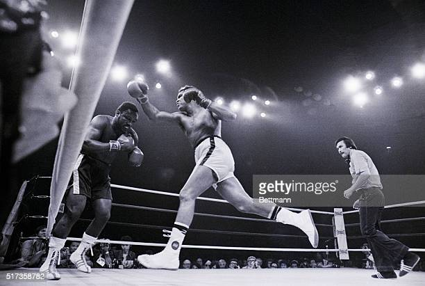 Heavyweight champion Muhammad Ali lunges at challenger Joe Frazier during the 10th round of a boxing match in Manila in 1975 Ali won a 14th round TKO...
