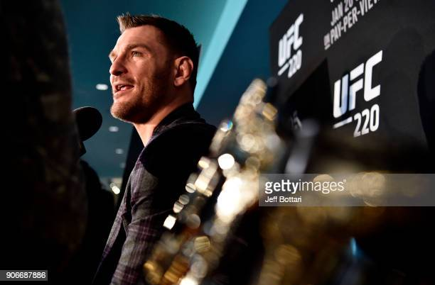 UFC heavyweight champion Stipe Miocic interacts with the media during the UFC 220 Ultimate Media Day at Fenway Park on January 18 2018 in Boston...