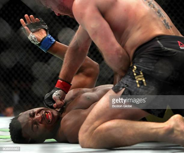 UFC heavyweight champion Stipe Miocic lands a punch as he defeats No 1 challenger Francis Ngannou to retain his championship belt in the main event...
