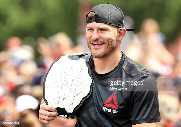 UFC heavyweight champion Stipe Miocic looks on during the Cleveland Cavaliers 2016 NBA Championship victory parade and rally on June 22 2016 in...