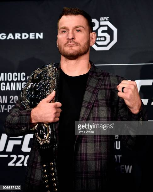 UFC heavyweight champion Stipe Miocic poses for the media during the UFC 220 Ultimate Media Day at Fenway Park on January 18 2018 in Boston...