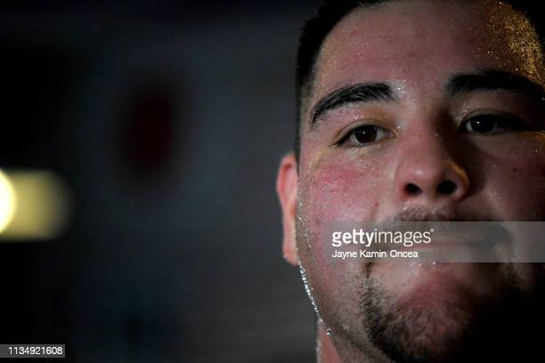 Heavyweight Contender Andy Ruiz Jr works in the ring during a media day workout for his upcoming fight against Alexander Dimitrenko at Fortune Gym on...