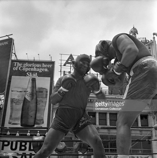 Heavyweight contender Joe Frazier prepares for his fight against Jerry Quarry on June 16 1969 in New York City New York