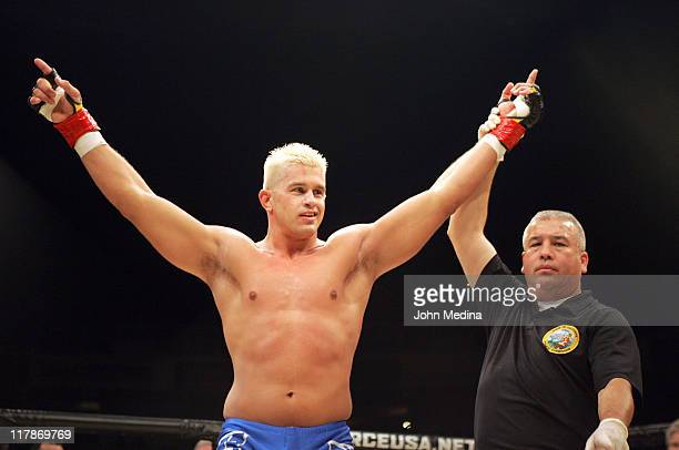 Heavyweight Daniel Puder celebrates his victory over Tommy Tuggle during the StrikeForce mixed martial arts event at HP Pavilion on June 9, 2006 in...