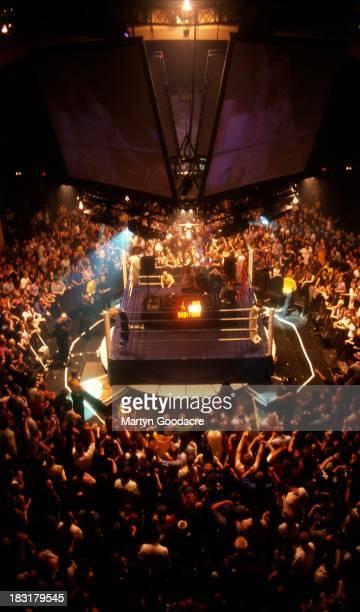 Heavyweight DJ battle at Brixton Academy between Fatboy Slim and Armand van Helden United Kingdom 1999