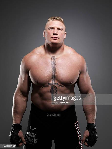 Heavyweight Fighter Brock Lesnar poses during a portrait shoot on August 7 2008 in Minneapolis Minnesota
