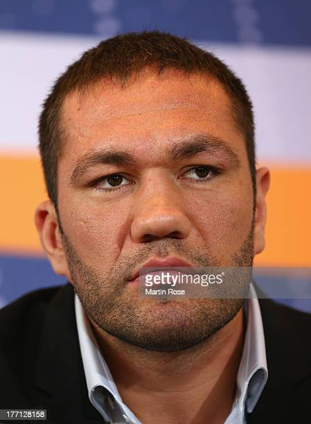 Heavyweight fighter Kubrat Pulev of Bulgaria attends the press conference at Altstaedtisches Rathaus on August 21 2013 in Schwerin Germany