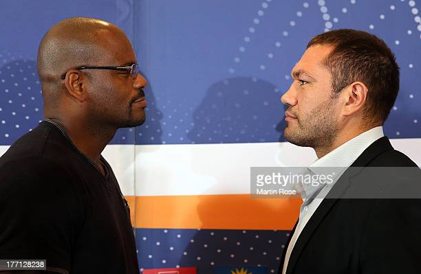 Heavyweight fighter Kubrat Pulev of Bulgaria faces Tony Thompson of USA during the press conference at Altstaedtisches Rathaus on August 21 2013 in...