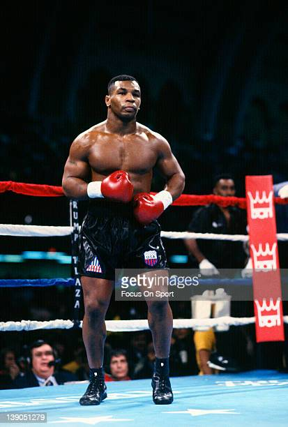 Heavyweight fighter Mike Tyson comes out of his corner to fight Alex Stewart in a heavyweight fight December 8 1990 at the Convention Center in...