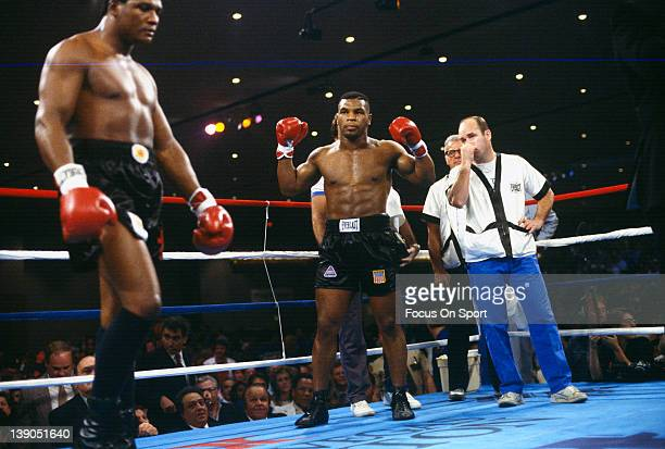 Heavyweight fighter Mike Tyson right and Trevor Berbick left in the ring before the start of their scheduled twelve round WBC heavyweight title fight...