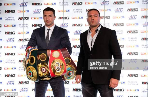 Heavyweight professional boxer and WBA IBF WBO and IBO world champion Wladimir Klitschko of the Ukraine and his opponent Kubrat Pulev of Bulgaria...
