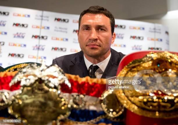 Heavyweight professional boxer and WBA IBF WBO and IBO world champion Wladimir Klitschko of the Ukraine attends a press conference at O2 World in...