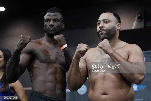 Heavyweights competitors Efe Ajagba and Santino Turnbow pose together during the official weighin at Barclays Center on December 21 2018 in New York...