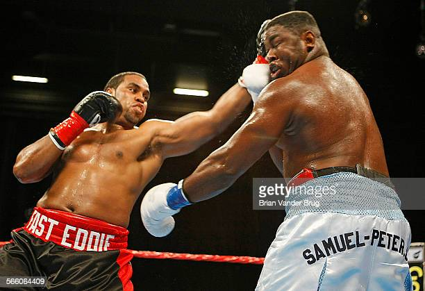 Heavyweights Sam Peterright and Eddie Chambers face off in their bout at the Nokia Theatre Friday March 27 2009