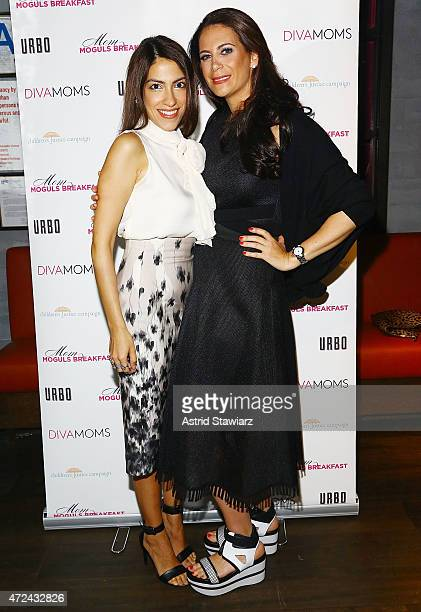 Heba Abedin and Divamomscom founder and CEO Lyss Stern attend Lyss SternÕs DIVAMOMSCOM third annual Moms Mogul Breakfast at Urbo NYC on May 7 2015 in...