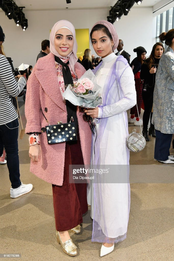 Heba Jalloul and Hajra Tariq attends the Leanne Marshall front row during New York Fashion Week: The Shows at Gallery II at Spring Studios on February 14, 2018 in New York City.