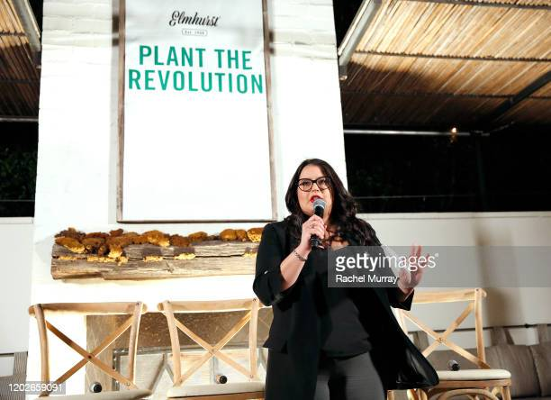 Heba Mahmoud speaks as Elmhurst 1925 celebrates PlantBased Movement with Plant the Revolution panel discussion at Gracias Madre on January 28 2020 in...
