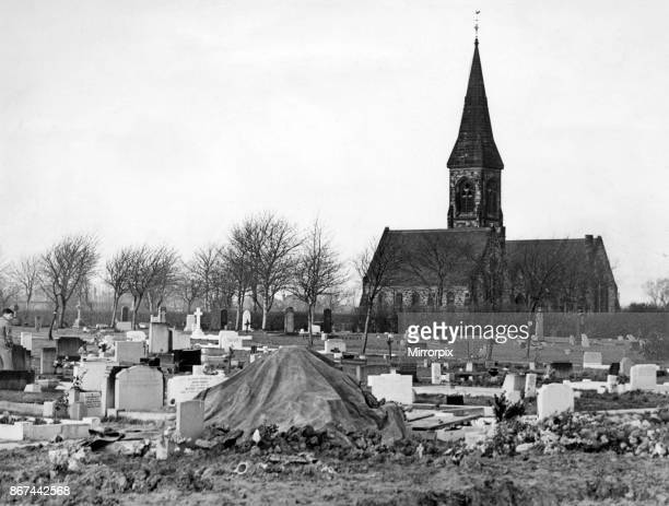 Hebburn cemetery after the exhumation there yesterday 9th December 1957