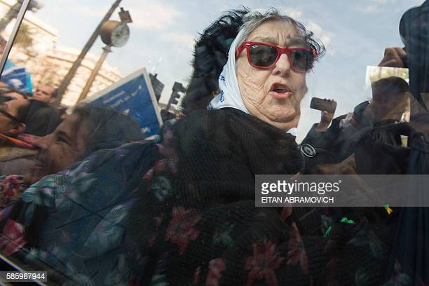Hebe de Bonafini leader of the Mothers of Plaza de Mayo human rights organization leaves Plaza de Mayo square in Buenos Aires Argentina on August 04...