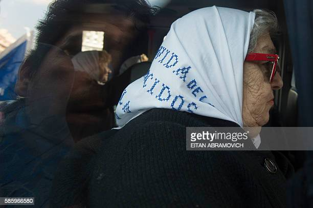 Hebe de Bonafini leader of the Mothers of Plaza de Mayo hunan rights organization leaves Plaza de Mayo square in Buenos Aires Argentina on August 04...