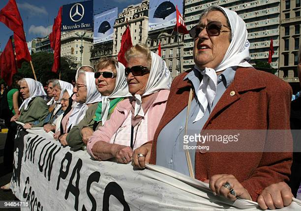 Hebe de Bonafini president of human right organization Mothers of Plaza de Mayo walk thourgh dowtown Buenos Aires Monday April 9 to protest for the...