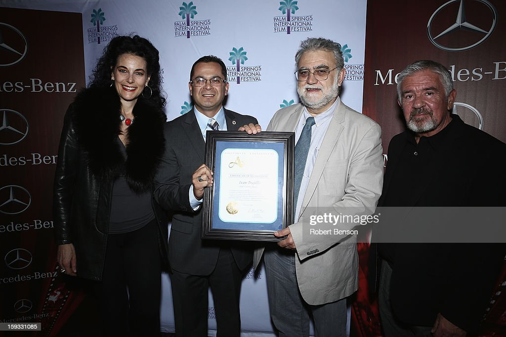 Hebe Tabachnik, Palm Springs Film Festival programmer , Assemblymember V. Manual Perez, Latin American filmmaker Ivan Trujillo and Darryl MacDonald, the festival director attend an assemblymember proclamation event where Trujillo was honored for his film accomplishments at the 24th Annual Palm Springs International Film Festival on January 11, 2013 in Palm Springs, California.