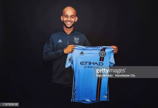 Heber Araujo dos Santos poses for a portrait after signing for New York City FC at Manchester City Football Academy on March 21 2019 in Manchester...