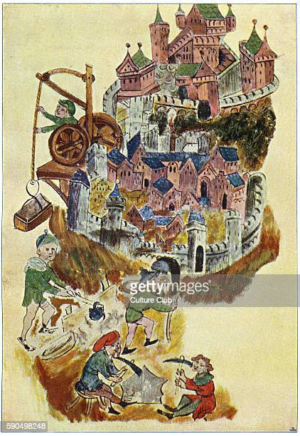 Hebrew slaves / Israelites as slave labour working for Pitom and Ramses in Egypt After15th century illuminated manuscript Buildings in the...