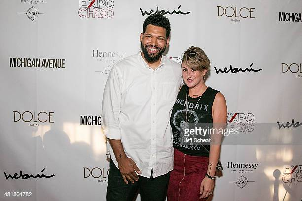 Hebru Brantley and Angi Taylor attend Michigan Avenue Magazine's Art Of The City Issue Release Celebration With Cover Artist Hebru Brantley At Dolce...