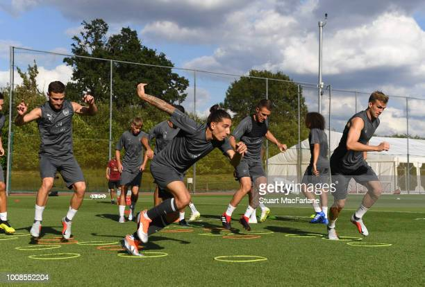 Hecto Bellerin and Rob Holding of Arsenal during a training session at London Colney on July 31 2018 in St Albans England