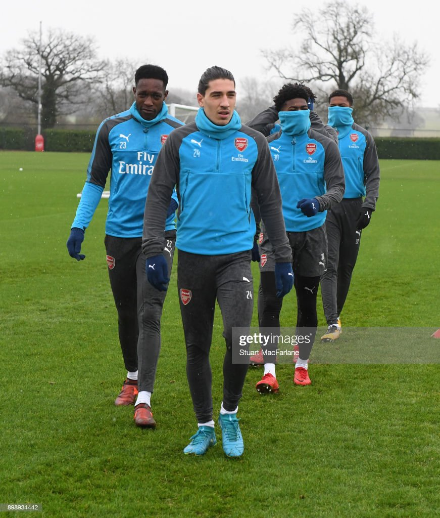 Hectoe Bellerin of Arsenal during a training session at London Colney on December 27, 2017 in St Albans, England.
