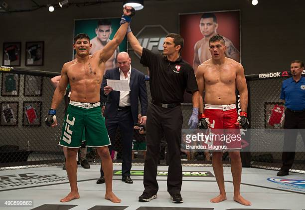 Hector Aldana celebrates his victory over Alvaro Herrera during the filming of The Ultimate Fighter Latin America Team Gastelum vs Team Escudero on...