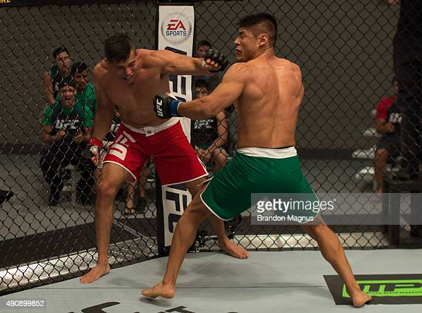 Hector Aldana exchanges punches with Alvaro Herrera during the filming of The Ultimate Fighter Latin America Team Gastelum vs Team Escudero on April...