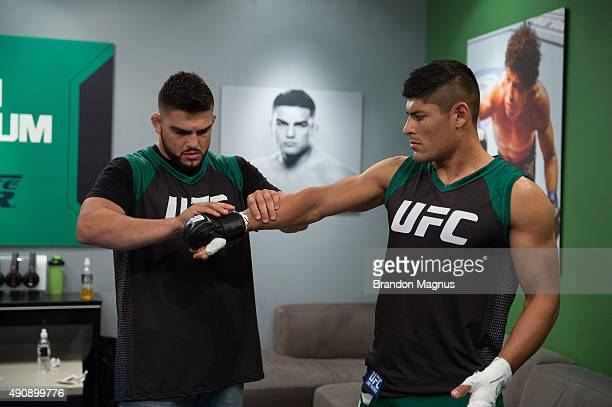 Hector Aldana gets his hands wrapped before facing Alvaro Herrera during the filming of The Ultimate Fighter Latin America Team Gastelum vs Team...