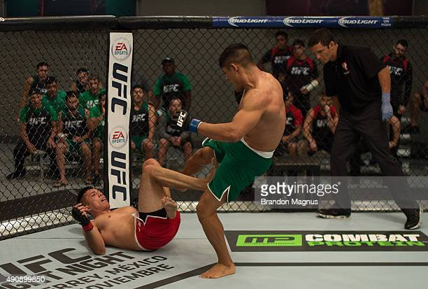 Hector Aldana kicks Alvaro Herrera during the filming of The Ultimate Fighter Latin America Team Gastelum vs Team Escudero on April 10 2015 in Las...