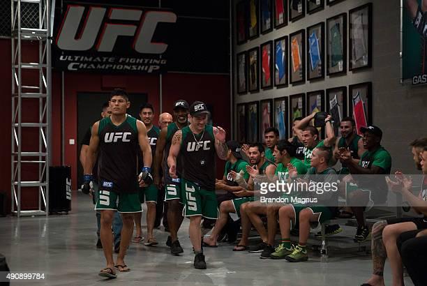 Hector Aldana prepares to enter the Octagon before facing Alvaro Herrera during the filming of The Ultimate Fighter Latin America Team Gastelum vs...