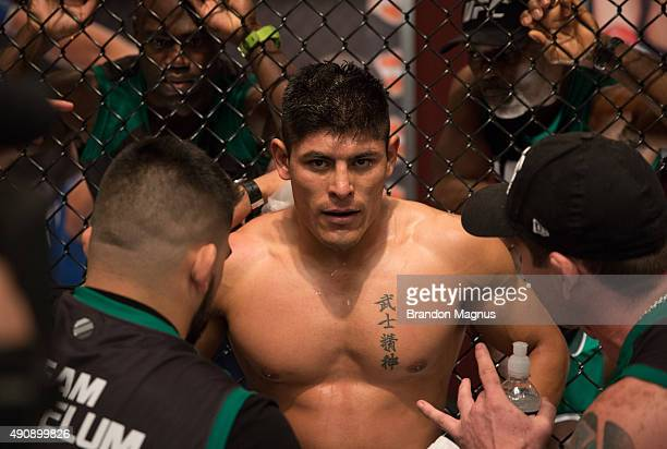 Hector Aldana receives advice from his corner while facing Alvaro Herrera during the filming of The Ultimate Fighter Latin America Team Gastelum vs...