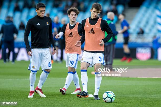 Hector Alfredo Moreno of Real Sociedad Alvaro Odriozola Arzallus of Real Sociedadand Diego Javier Llorente Rios of Real Sociedad during the match...