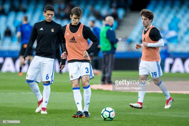Hector Alfredo Moreno of Real Sociedad Diego Javier Llorente Rios of Real Sociedadand Alvaro Odriozola Arzallus of Real Sociedad during the match...